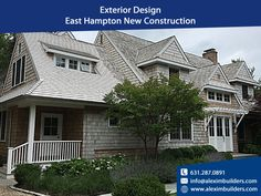 Exterior Design - East Hampton New Construction - We offer in-house plan services as well as permitting and expediting in order to save our clients time and money. Contact us by sending a message on whatsapp and we will contact you 631.287.0891 #alexim #aleximbuilders #realestate #exteriordesign #interiordesign #architecture #design #exterior #homedecor #interior #homedesign #construction #architect #landscapedesign #outdoorliving #landscape #interiordesigner Hamptons New York, Hamptons House, Custom Home Builders, Custom Homes, Home Developers, New Home Construction, East Hampton, Exterior Design, Interior Styling