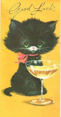 Vintage Greeting Card Good Luck Going Away Orange w Black Cat Kitty Martini Black Cat Illustration, Cat Illustrations, Good Luck Cards, White Cats, Black Cats, Cat Cards, Vintage Greeting Cards, Vintage Postcards, Here Kitty Kitty