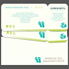 Any Color Flip Flops Boarding Pass Invitations SALE $187.90