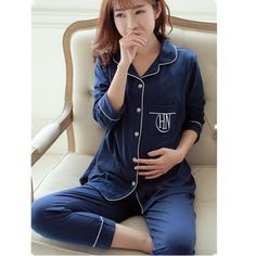 b17389983 Breastfeeding Pajamas For Maternity Women Long Sleeve Cotton Sleepwear  Pregnant Women Nursing Clothes Sets Nightgown B0310
