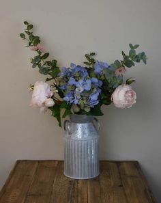 Have a look at this combination of Blue Hydrangeas, light Pink English cabbage roses and flowering eucalyptus! Magnificent! Don't miss your chance to buy this Arrangement for $ 120 only! http://www.countryaccentfloralboutique.com/pages/artificial-flower-image-gallery  #artificialflowers #homeideas #homedecor #homedecorating #decoration #decor #arrangement #weddingdecor #silkflowers #eventdecor #CountryAccent #floral #boutique #Australia