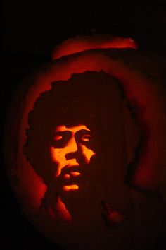 Classic Rock pumpkins: Jimi Hendrix......Tumblr