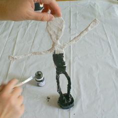 Done many times with wooden bases but this one uses plaster.... Giacometti statues tutorial