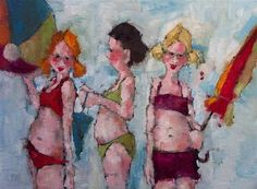 by Angela Morgan [I just think this illustration is hilarious! ~Some familiar humor in real life, right down to the sunburn on newly exposed skin. Love Art, All Art, Figure Painting, Painting & Drawing, Summer Painting, Artist Art, Painting Inspiration, Female Art, Art Pictures