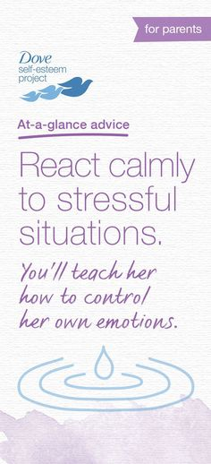 Help raise happy teenagers by showing them how to stay cool in stressful situations. If your daughter gets a bad grade at school, don't get upset. Instead, take a deep breath and talk through the issue with her. She can learn this coping mechanism by watching you. For more self-esteem articles, activities, and advice—head to www.pinterest.com/selfesteem. #SelfEsteemProject #spon
