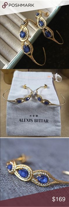 Alexis Bittar Blue Sapphire Crystal Hoop Earrings Alexis Bittar Blue Sapphire Crystal Hoop Earrings • Brand New without tags • Gorgeous Alexis Bittar earrings with three large blue crystals and pave Swarovski crystals on textured gold. AB hallmark. Bag not included. Bundle & Save! Please check out my Alexis Bittar Collection Alexis Bittar Jewelry Earrings