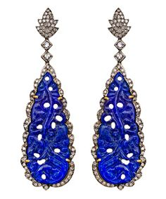 Divya Diamond Blue Tear Drop Dangle Earrings (i like the top part but not so sure about the blue material)