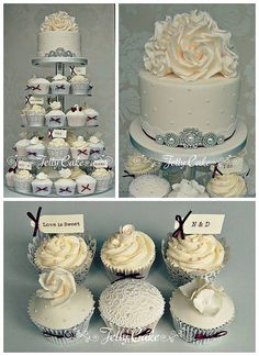 A pretty vintage winter cupcake tower. Cupcakes decorated with sugar lace, roses, hydrangeas and birdcages with a top tier full of sugar roses and pretty pearl and diamante details.
