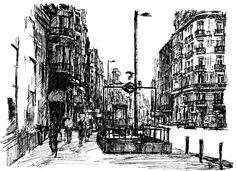 vista de la Gran Vía de Madrid esquina con Fuencarral, tamaño A4. bolígrafo negro.