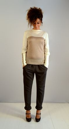 womens grey pants trousers casual pants winter pants by ThiPo, $90.00