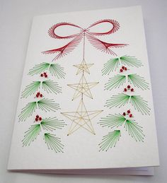 Hand Embroidered Christmas Card by StitchyStationery on Etsy, £3.50