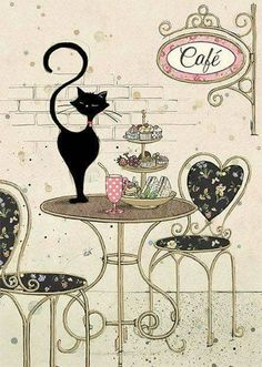 Parisian Cat Drawing Print Kitchen Decor, Wall Art Gift for a Chef for any Cook,Gift, Perfect for th Art And Illustration, Illustrations, Image Chat, Bug Art, Cat Cards, Greeting Cards, Cat Drawing, Cat Love, Crazy Cats