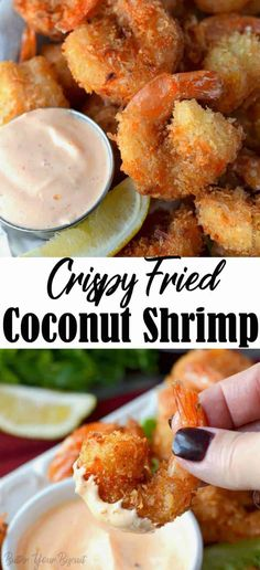 This Crispy Fried Coconut Shrimp recipe is crispy, crunchy with a touch of sweetness. Excellent eaten alone or served with my sriracha mayo dipping sauce. Coconut Shrimp Dipping Sauce, Fried Coconut Shrimp, Coconut Shrimp Recipes, Grilled Shrimp Recipes, Coconut Sauce, Butter Shrimp, Shrimp Recipes Easy, Shellfish Recipes, Seafood Recipes
