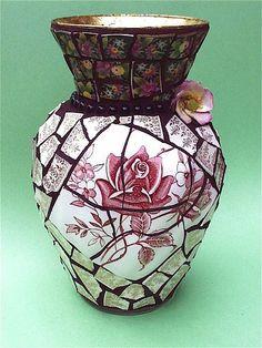 """Tudor Roses"" by Laura Winzeler, North Carolina. (china pique assiette mosaic)"