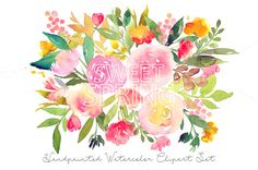 Sweet Spring - Watercolor Floral Set by SmallHouseBigPony on @creativemarket