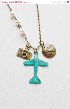 ❘❘❙❙❚❚ ON SALE!! Special Discount for a very limited time only! ❚❚❙❙❘❘     airplane glob necklace,aviation necklace,airplane aeroplane necklace,globe