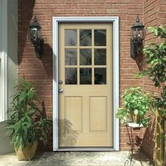 JELD-WEN 9-Lite Unfinished Hemlock Entry Door with Primed White AuraLast Jamb and Brickmold-O10791 - The Home Depot