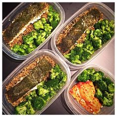 #latepost of the quick #mealprep I whipped up earlier this week. #roasted #fresh #wild #alaskan #salmon two ways 1) smothered in a #zesty @oldbay_seasoning #sauce 2) seasoned with #lemon #dill & topped with a bit of melted #artisan #butter. Served with steamed #broccoli & #spinach infused #basmati #rice. #mealprepdaily #mealprepmonday #mealprepsunday #protein #keto #macros #macro #fish #seafood #pescatarian #healthy #stayfierce #fiercefabliving by fiercefabliving