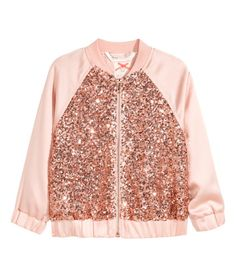 Powder pink. Bomber jacket in satin with sequins and a zip at front. Side pockets, raglan sleeves with wide, elasticized cuffs, and ribbing at neckline.