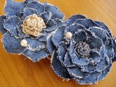 denim flowers...add lace and pearls for more vintage look  Visit & Like our Facebook page! https://www.facebook.com/pages/Rustic-Farmhouse-Decor/636679889706127