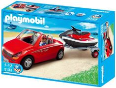 Playmobil Red Convertible with Personal Watercraft by Playmobil. $21.99. Jetski can be upgraded with the underwater motor #7350 (sold separately).. Jetski floats.