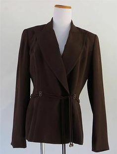 Alberto Makali Women Blazer Jacket Brown Built in Tie Belt Size 10 Acetate Rayon | eBay