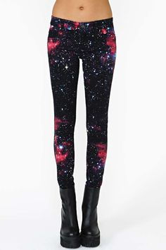 Far out stretch skinnies featuring a deep purple and black galaxy print! Classic five-pocket styling, button/zip closure.