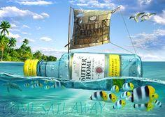 Wine Bottle in sea