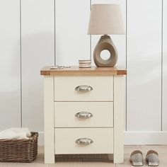 Sandringham Solid Oak Painted Cream/Grey Chest Of Drawers - - Chest Of Drawers - Mark Harris - Space & Shape - 1