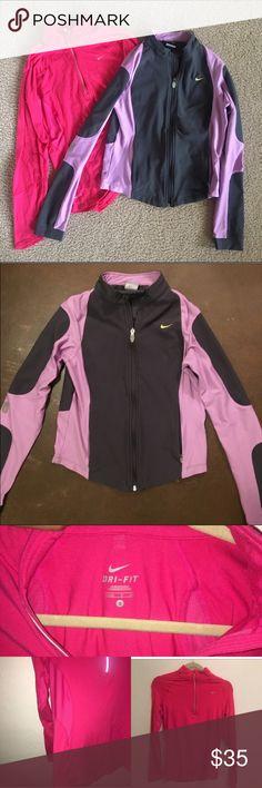 TWO NIKE DRI FIT jacket/zipup bundle major closet clearance! 2 for 1. nike dri fit jackets. lilac/black full zip. hot pink dri fit half zip. both EUC and super cute. both size small. Nike Jackets & Coats Utility Jackets