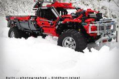 Lego Technic red pickup truck | supercharged V10. Lego Technic Photo by Siddhart Jaipal. #Redpickuptruck #LegoTechnic #photoshooting #Rotterdam #TheNetherlands