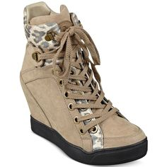 Guess Women's Matty Wedge Sneakers ($125) ❤ liked on Polyvore featuring shoes, sneakers, light natural, leopard wedge sneakers, leopard sneakers, guess footwear, leopard print sneakers y wedge heel sneakers