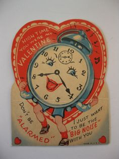 Vintage Valentine's Day Card Anthropomorphic Clock with Arms and Legs My Funny Valentine, Valentine Images, Valentines Greetings, Vintage Valentine Cards, Vintage Greeting Cards, Valentine Crafts, Valentine Day Cards, Vintage Postcards, Happy Valentines Day