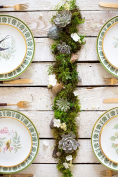 Make these gorgeous but simple DIY succulent centerpieces for your wedding reception tables. What you will need: Moss table-runner with loose succulents, mini terrariums and mica flakes.