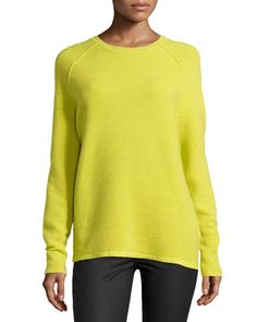 Long-Sleeve Ribbed Jacquard Sweater, Apple Green  by Halston Heritage at Neiman Marcus.