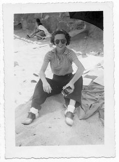 Chronically Vintage: 15 photos of terrific real world 1940s summer fashions    1940s summer fashion  {Stripes, cuffs and saddle shoes while sitting on the sand - that's a look I could easily see myself sporting, as I like to remain fairly well covered at the beach most of the time.}