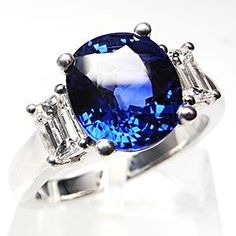 BLUE SAPPHIRE & EMERALD CUT DIAMOND ENGAGEMENT RING SOLID 14K WHITE GOLD