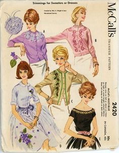 I like the center sweater with the pinecones on it..........McCall's 2420 B | via Vintage Pattern Wiki.