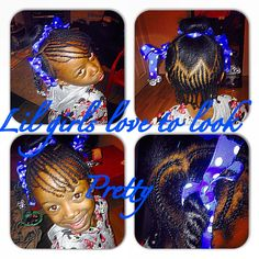 Baby girls hair #cornrows #hearts #ribbons #bobbles #love