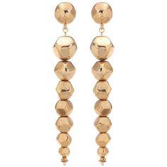 Oscar de la Renta Dangling Earrings (€230) ❤ liked on Polyvore featuring jewelry, earrings, gold, gold earrings jewelry, gold jewellery, earring jewelry, long gold earrings and long earrings