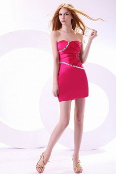Cute Sweetheart Mini Cocktail Dress under 100 Junior Cocktail Dresses, Cheap Cocktail Dresses, Elegant Party Dresses, Casual Dresses, Cheap Short Prom Dresses, Cheap Quinceanera Dresses, Cheap Gowns, Rosa Satin, Pink Satin