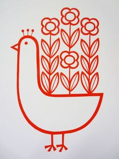 Scandinavian Style Siebdruck Flowery Peacock ~ Jane Foster Source by Scandinavian Pattern, Scandinavian Folk Art, Scandinavian Embroidery, Vogel Illustration, Graphic Illustration, Silkscreen, Deco Addict, Arte Popular, Bird Art