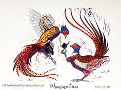 Pheasantries: a lino cutting story. How I printed this image.