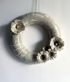 Wreath Paper Home Holidays Decor Books Recycled Pale Neutral. $39.50, via Etsy.