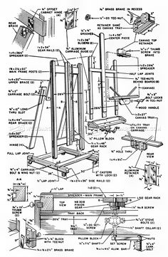 Artist Easel Plans - Woodworking Plans and Projects - Woodworking, Woodworking Plans, Woodworking Projects Drawing Furniture, Drawing Desk, Studio Furniture, Furniture Plans, Bedroom Furniture, Diy Easel, Wooden Easel, Cool Wood Projects, Art Studio Organization