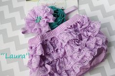 Newborn bloomer, Lavender Lace bloomer, LAURA  lace ruffle diaper Cover and Headband Set flower baby Headband newborn baby girl photography via Etsy