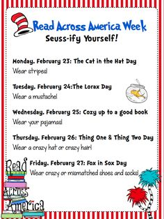 Ways to Seussify yourself for Dr. Seuss Week. Read Across America Celebration: Fun Events All Week Long!