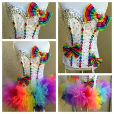 CIRQUENSE Rainbow Costumes, Candy Costumes, Rave Costumes, Cool Costumes, Halloween Costumes, Meme Costume, Rave Corset, Electric Daisy Carnival, Electric Laundry