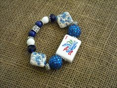 Blue Mahjong Tile Bracelet - Jesse James Beads Jewelry - Mahjong Jewelry by MahjongJewelry on Etsy