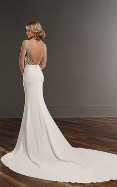 823 Beaded wedding dress with cathedral train by Martina Liana